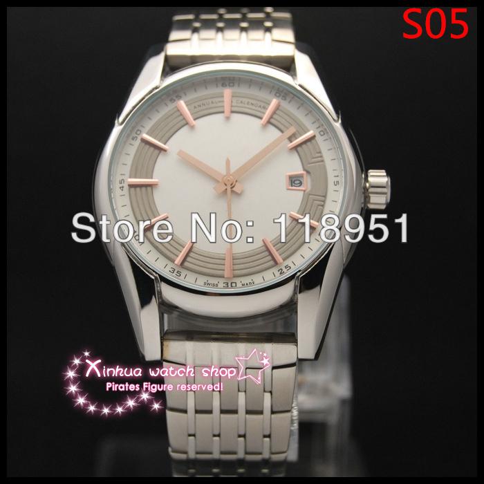 2014 New Hot Swiss watches successful men preferred! Business calendar waterproof automatic mechanical men's watches sapphire(China (Mainland))