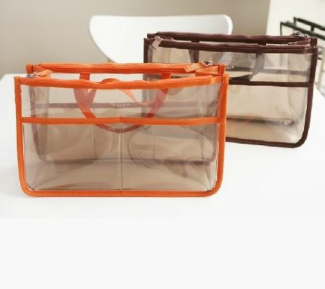 Women Handbag Clear Dual Zipper Makeup Organizer Bags Transparent Cosmetic Storage Necessaire Bag-in-bagOrganizador Travel Case(China (Mainland))