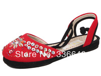 National   beijing cotton-made embroidered shoes handmade beaded hasp casual shoes