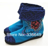 2014 female boots national fashion trend beijing cotton-made embroidered shoes dish