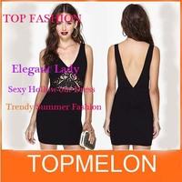 New 2014 Lady Fashion Sexy Women Cutout Slim Lace patchwork Dress Deep V-neck Racerback Body Corn Party Clubwear Evening Dress