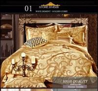 Luxury tribute silk satin jacquard bedding sets wedding Noble Palace bed sets bed linen orange bedclothes duvet cover #J15-7