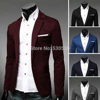 New Spring Men Stylish Blazers 2014 Men's Casual Man Slim Single Button Suit Jacket Fashion Clothing Blazers 5 colors M-XXL
