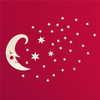 Free shipping 33pcs stars+moon combination wall stickers crystal DIY 3d cartoon mirror surface wall sticker child's gift
