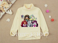 Retail new fashion spring Monster High children T shirts cartoon long sleeves bottoming shirt boys girls t shirt 2-10 Ages kids
