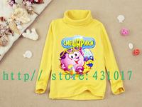 Retail Russian Smeshariki spring children T shirts cartoon long sleeves boys girls t shirt 2-10 Ages kids t shirt