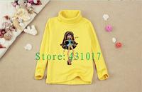 2014 Hot selling spring cartoon long sleeves bottoming shirt Monster High children T shirts boys girls t shirt 2-10 Ages kids