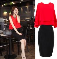 NEW summer dress 2014 Korean spring  women dress casual dress fashion vestidos two piece plus size good quality dresses