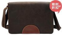 Crazy horse vintage leather man bag handmade messenger bag male shoulder bag school bag 8005