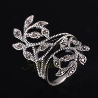 2014 Hot Sale Zinc Alloy Antique Silver Plated Black CZ Retro Vintage Leaf Ring For Women