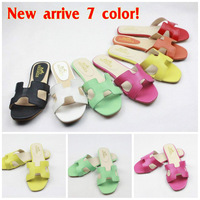 2014 summer European and American brands fashion women's  slippers / flat shoes /  leahter sandals 4 color  free shipping