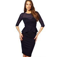 Europe and America star models sexy black mesh sleeve Slim dress pencil skirt flounced halter