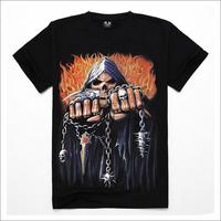 2014 male short-sleeve o-neck T-shirt cotton fabric popular 3d chain hammer skull t-shirt male basic shirt