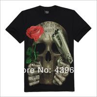 Skull metal series male short-sleeve o-neck t-shirt rock 3dt male t-shirt rose skull