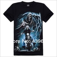2014 metal male short-sleeve o-neck T-shirt full 3d male t-shirt skull 100% men's cotton clothing