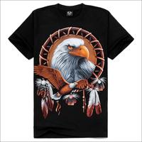 3D golden eagle men cotton T-shirt round neck short sleeve black male summer S / M / L / XL / XXL models available