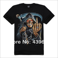 New arrival personality 2014 male short-sleeve T-shirt full popular o-neck 3d sickle skull t-shirt
