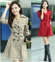 2014 spring new Korean Slim lace jacket windbreaker jacket decorated female models big yards Long section Coat 6 colors