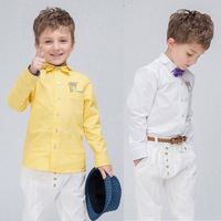 2014 new spring boys solid shirt printing fine British fashion double pointed collar shirt