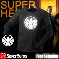 S.H.I.E.L.D NEW 2014 fashion mens brand cotton novelty luminous tee t-shirts male short sleeve man casual clothing plus size
