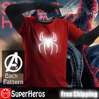 NEW 2014 fashion mens brand cotton novelty luminous tee t-shirts male short sleeve man casual clothing plus size XXXL spiderman
