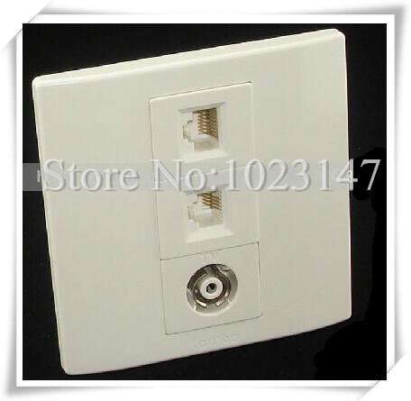 High Quality ! Network + Phone + TV socket RJ45+RJ11+ Wired TV Network Telephone TV panel !(China (Mainland))