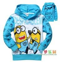 New 1pcs baby boys girl Cartoon design minion  children wear Hoodies Sweatshirts Children's clothes