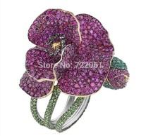 Phalaenopsis flower ring 925 silver ruby emerald ring female silver