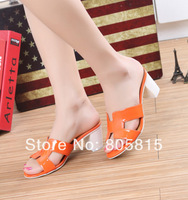 2014 Newest 100% Genuine Patent  Leather White Sole Slippers Sandals Women With Heel With H Brand Logo Orange Plus Size 42