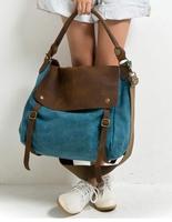 7 color 2014 New Top vintage crazy horse leather canvas shoulder bags man genuine leather handbag big women messenger bag