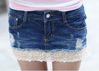 Free Shipping fashion lace skirt summer, distrressed denim lace decoration denim short skirt women10018