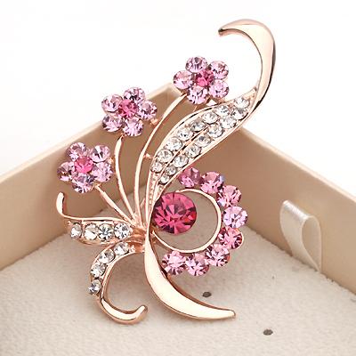 bigiotteria spille moda in lega di pin spilla fiore di cristallo abiti da festa per le ragazze x0185