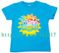Hot selling Russian Smeshariki happy ball summer cartoon short sleeves children T shirts boys girls kids t shirt 2-13 Ages