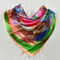 2014 Green Pink Large Square Silk Scarves Printed Fashion Hot Sale Women Satin Silk Scarf Shawl Spring Autumn Silk Neckerchief
