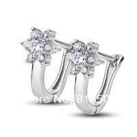 GNE0910 Hot 2014 high quality Fashion 925 sterling silver with zircon earrings 8.5*14mm star dream Free shipping