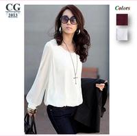 2014 New Fashion Women Chiffon Blouses Puff Long Sleeve Rivets Lace Shirts Loose Casual Tops Plus Size Free Shipping#CGS010