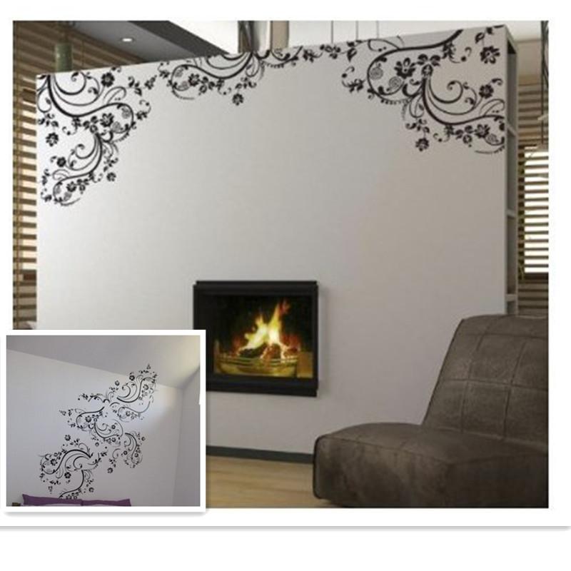 Elegant Flower Vine Room Window Home Decor Black Vinyl
