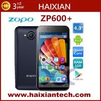 Original ZP600+ Smartphone Quad core 1.3GHz 1GB RAM 4GB ROM Dual Camera GPS 3G WCDMA GSM Android ZP600 Updated