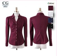 2014 New Women Basic Chiffon Blouse Sheer Top Casual Loose Shirt Blouse Business Shirt S~XXL Plus Size Freeshipping#CGS009