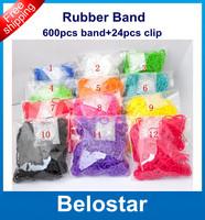 Hot DIY Refill Loom Bands Loom Rubber Band Bracelet (600 pcs bands + 24 pcs S-clips ) in each bag Best Gift Free DHL