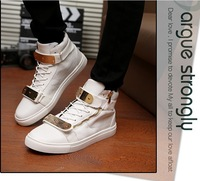 Drop Shipping 2014 Mens  High Top GZ Sneakers man Gold Chain Zip Buckle Causal Shoes Loafers