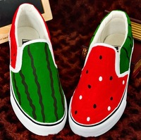 Eu34-44, Hot-Selling Hand Painted Watermelon Designer Unisex Canvas Casual Shoes Brand Fashion Sneaker For Women/Men.  SC41006