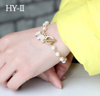 New 2014 Bracelets & Bangles Korean Fashion Jewelry Simple Floral Imitation Pearl Animal Charm Fashion Bracelet For Women