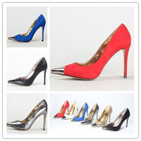 Fashion hot-selling metal pointed toe ultra high heels velvet brief thin heels fashion ol low single shoes work shoes