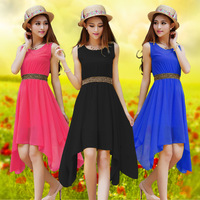 2014 new Korean large size women summer sleeveless chiffon dress in a solid color dress