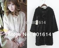 Fashion medium-long overcoat Faux fur coat Large STOCK ! 3colors: Beige,Black,White faux outerwear