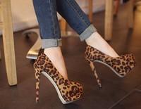 2014 New single shoes woman pumps solid color woman high heeled platform square leopard shoes  x0010