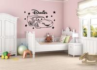 Cute Cartoon Car Star Custom Name Vinyl Wall Decal Mural Poster for Kids Nursery Home Decor Wall Stickers 80x50cm