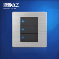 Wholesale POLO Luxury Wall Switch Panel, Light Switch,3 Gang 2 Way,Champagne/Black,Push Button LED Switch,16A,110~250V, 220V