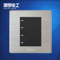 Wholesale POLO Luxury Wall Switch Panel, Light Switch,4 Gang 2 Way,Champagne/Black,Push Button Fluorescence Switch,10A,110~250V